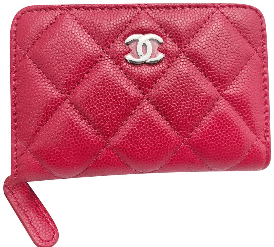 c0480fb0da90 Chanel CHANEL Caviar O Coin Card Holder Zip Wallet 18B Dark Pink Red Image  0 ...