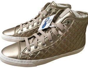 Geox Quilted Sneaker Zipper metallic champagne Athletic