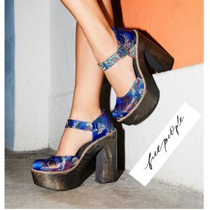 Free People Colorful Embroidery Against Cobalt Blue Satin Platforms