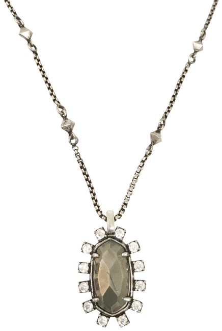 Item - Pewter Irridescent Stone Convertible Pendant Necklace