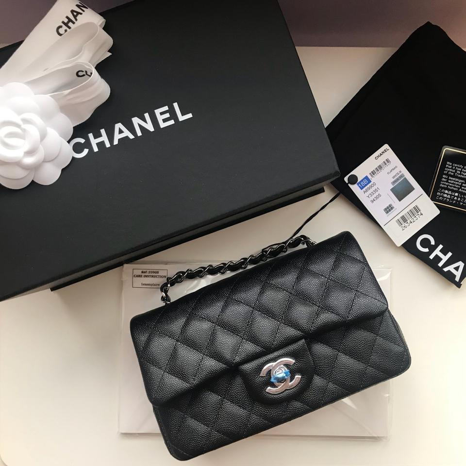 f3dacb7c3b95 Chanel Classic Flap 18b Quilted Mini Rectangular Black Caviar Leather Cross  Body Bag - Tradesy