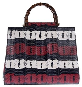 Gucci Nymphea Snakeskin Blue Tote in Multicolor Red Navy White