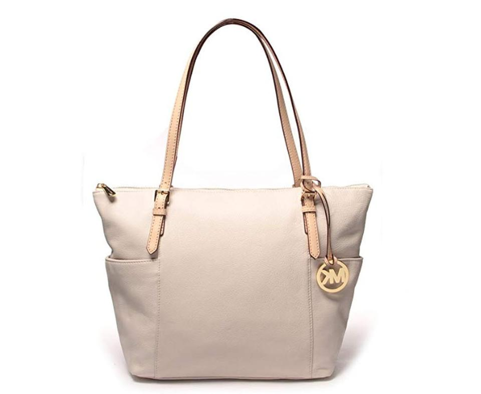 c7931071624b Michael Kors Jet Set East West Top Zip White Leather Tote - Tradesy