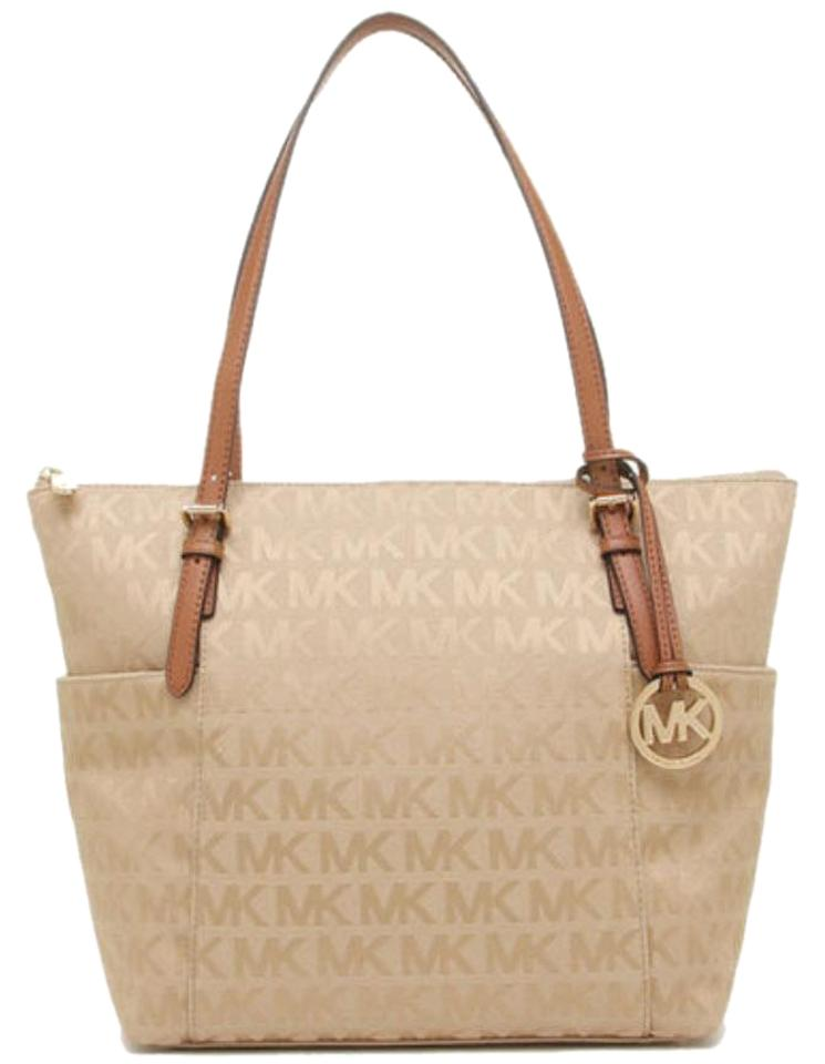 c979fe904fef8 Michael Kors Jet Set East West Logo Brown Beige Jacquard Tote - Tradesy
