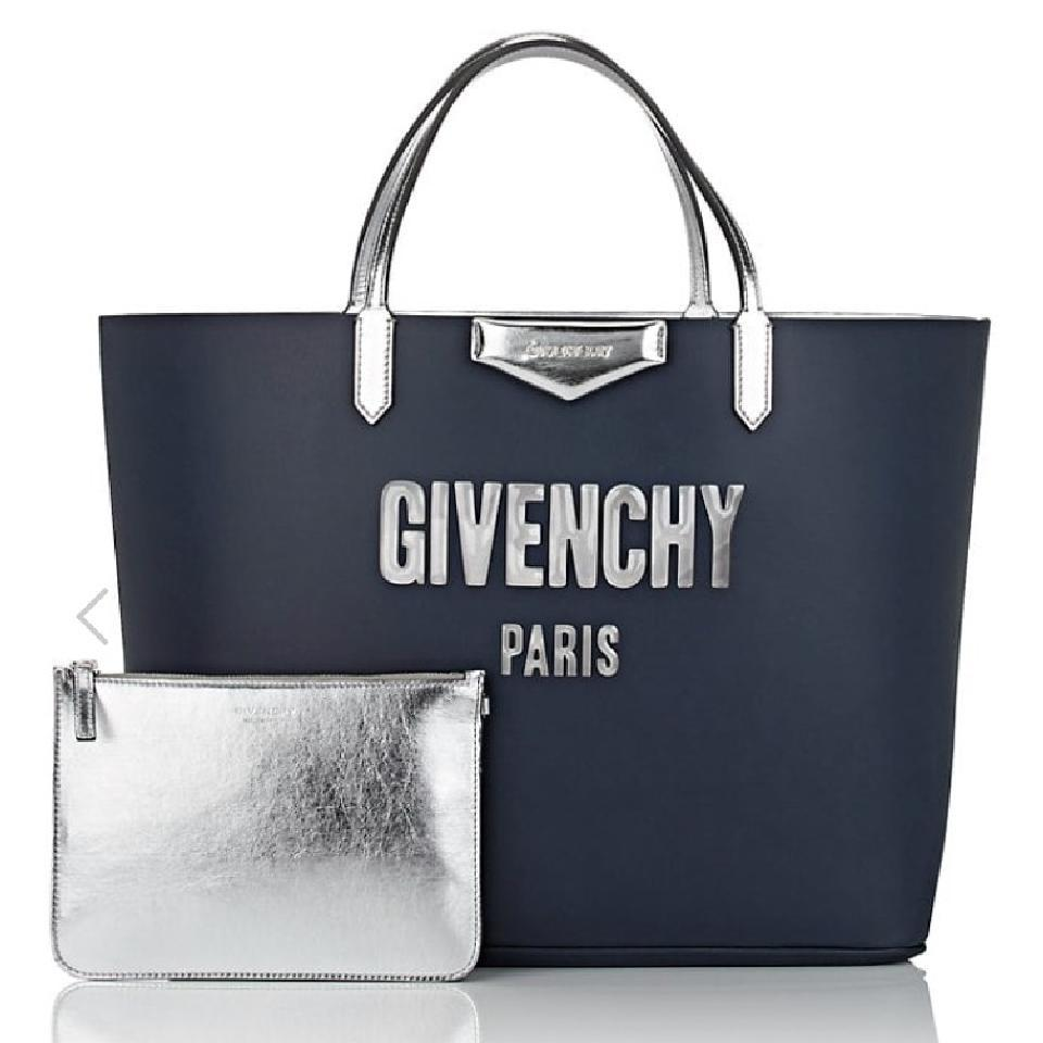 6d6dd87c76 Givenchy Antigona Navy Silver Blue Leather Tote - Tradesy