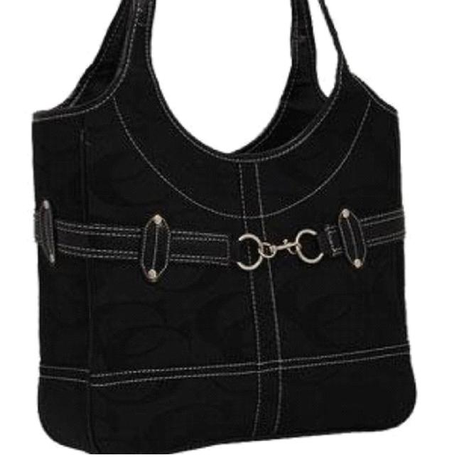 Signature - Black Faux Leather and Canvas Shoulder Bag Signature - Black Faux Leather and Canvas Shoulder Bag Image 1