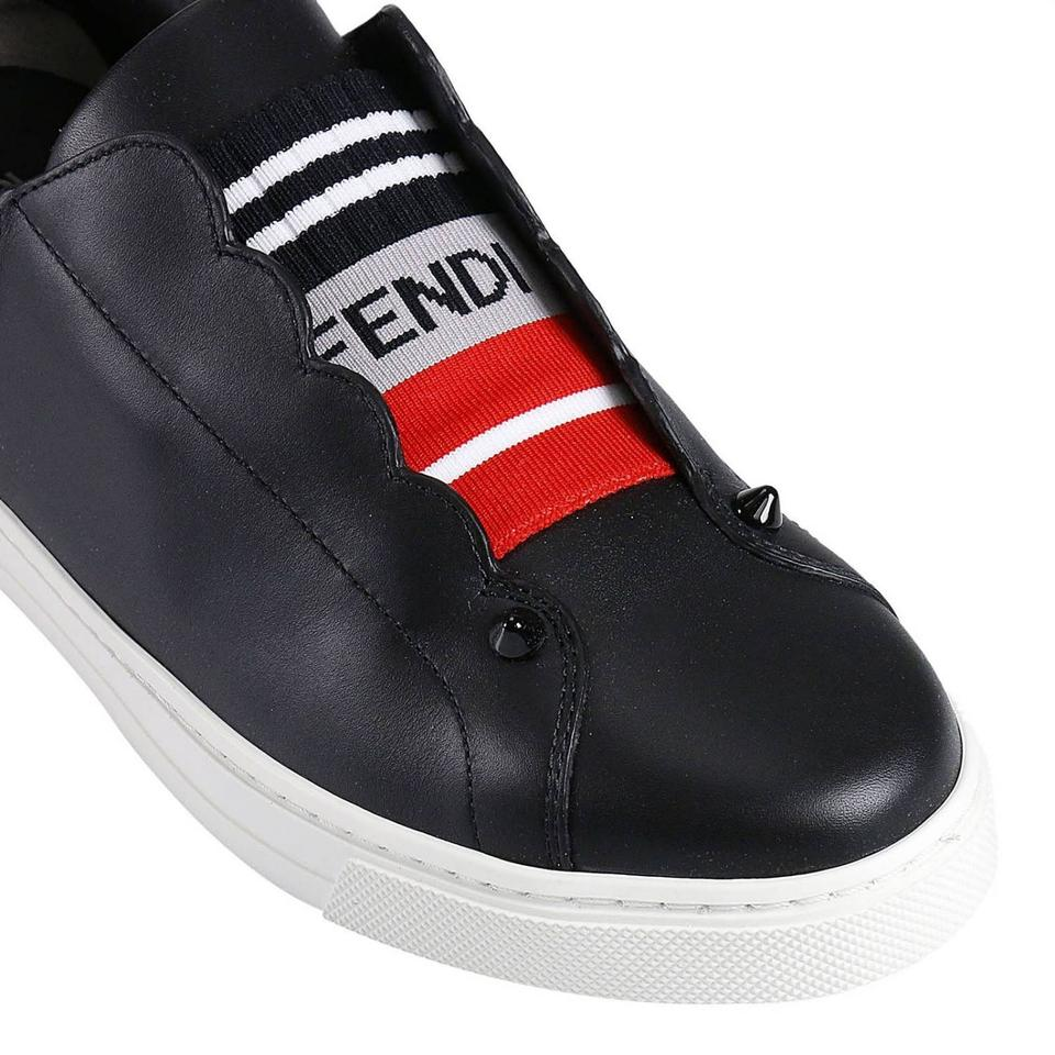 Sneakers Women Fendi Logo Leather On Slip Sneakers New Rockoko Black wwqUgB1