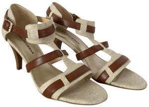 ef6c92ee2fa0 Dana Buchman Laila Woven Fabric Straps Canvas Brown and Beige Pumps