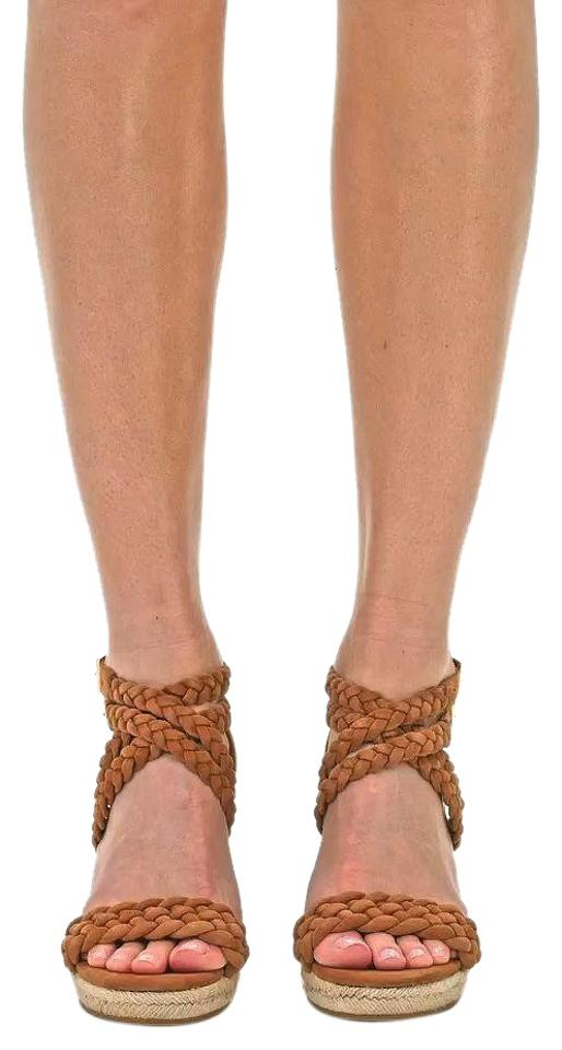 7c42d6184a6 Tory Burch Brown Bailey Ankle Strap Espradrille Wedges Size US 7.5 ...