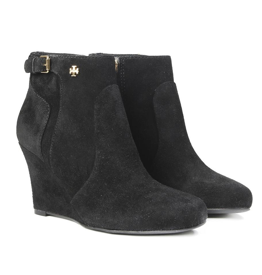 b32499ccf91d5d Tory Burch Black New Womens  Suede Leather Short Wedge Boots Booties ...
