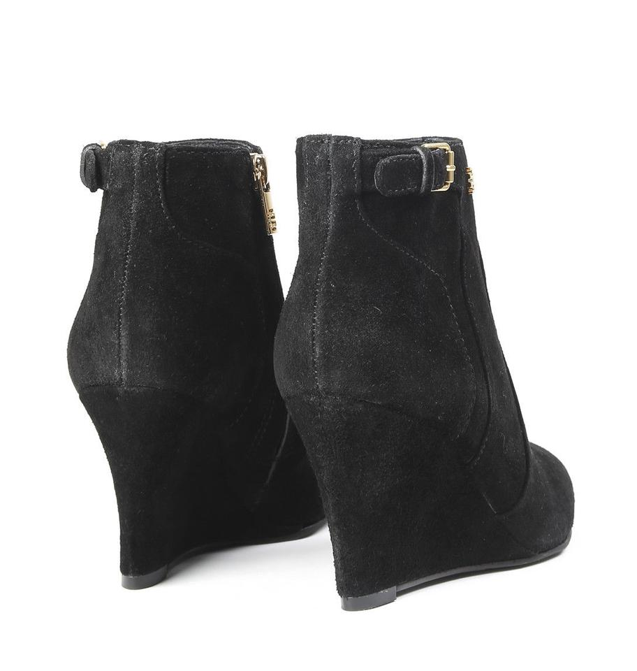 68372c9d240b5d Tory Burch Black New Womens  Suede Leather Short Wedge Boots Booties Size  US 6.5 Regular (M