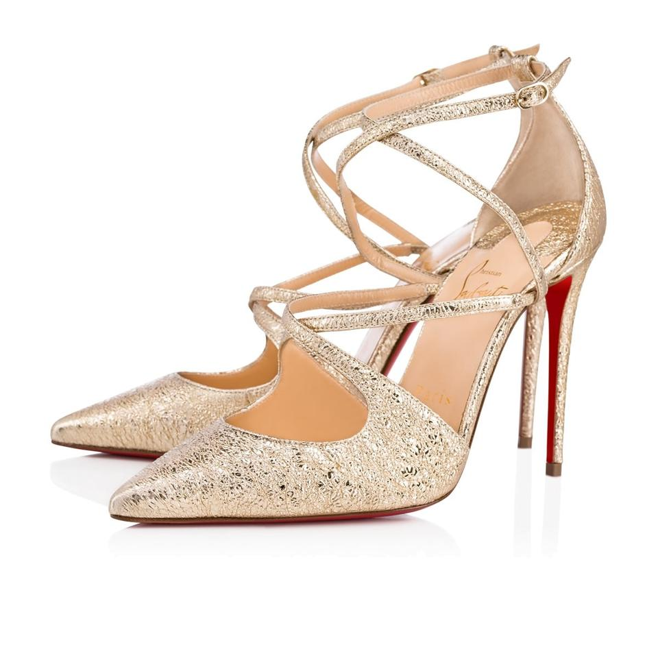 more photos 81910 d71bc Christian Louboutin Platine (Gold) Crossfliketa 100 Metallic Leather  Vintage Sandals Pumps Size EU 37.5 (Approx. US 7.5) Regular (M, B) 26% off  retail
