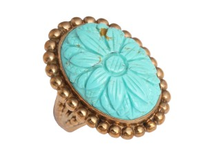 Stephen Dweck Turquoise Stone Floral Ring