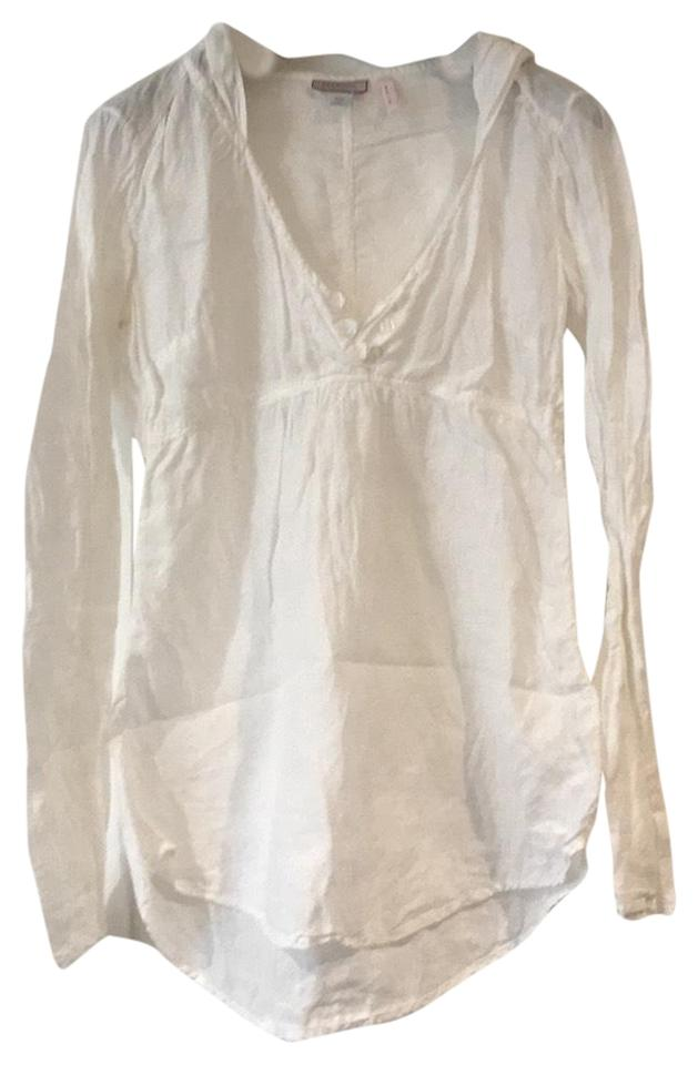 fa94cea2a7c1f Max   Co. White Linen Hooded Blouse Size 6 (S) - Tradesy