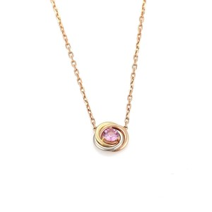 Cartier Pink Sapphire 18k Tricolor Gold Love Knot Pendant Necklace w/Cert