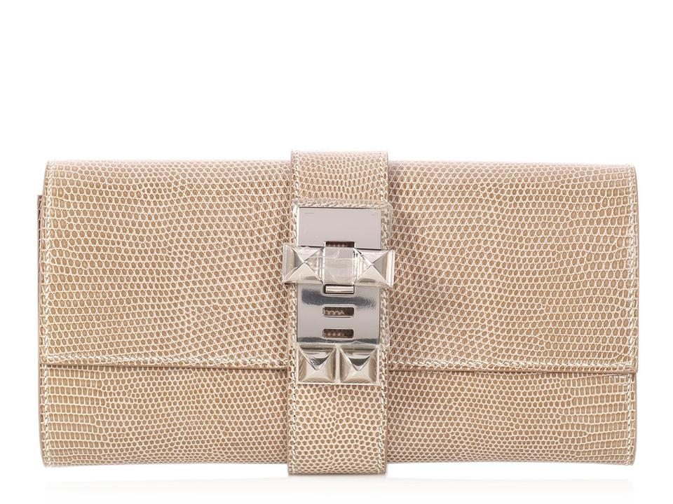 a1bc1743f906 Hermès Beige Palladium Lizard Hr.p0622.03 Reduced Price Tan Clutch Image 0  ...