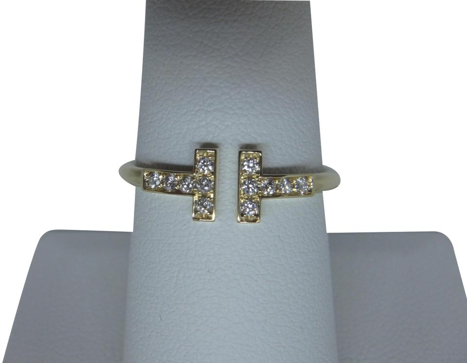 23827b4561b1b Tiffany & Co. 18k Yellow Gold and Diamonds T Wire Ring 21% off retail
