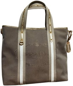 Prada Tote in Gold/Biege
