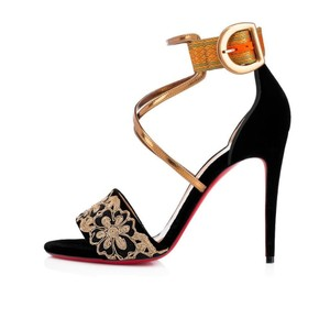 Christian Louboutin Heels Cuff Sabina Velvet Embroidered Black, Gold Sandals