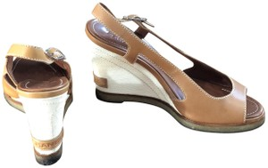 Chanel Summer Leather Tan Wedges