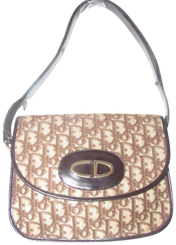 a17ac3e8a6b3 Dior Vintage Purses Designer Purses Brown and Ivory Trotter Logo ...