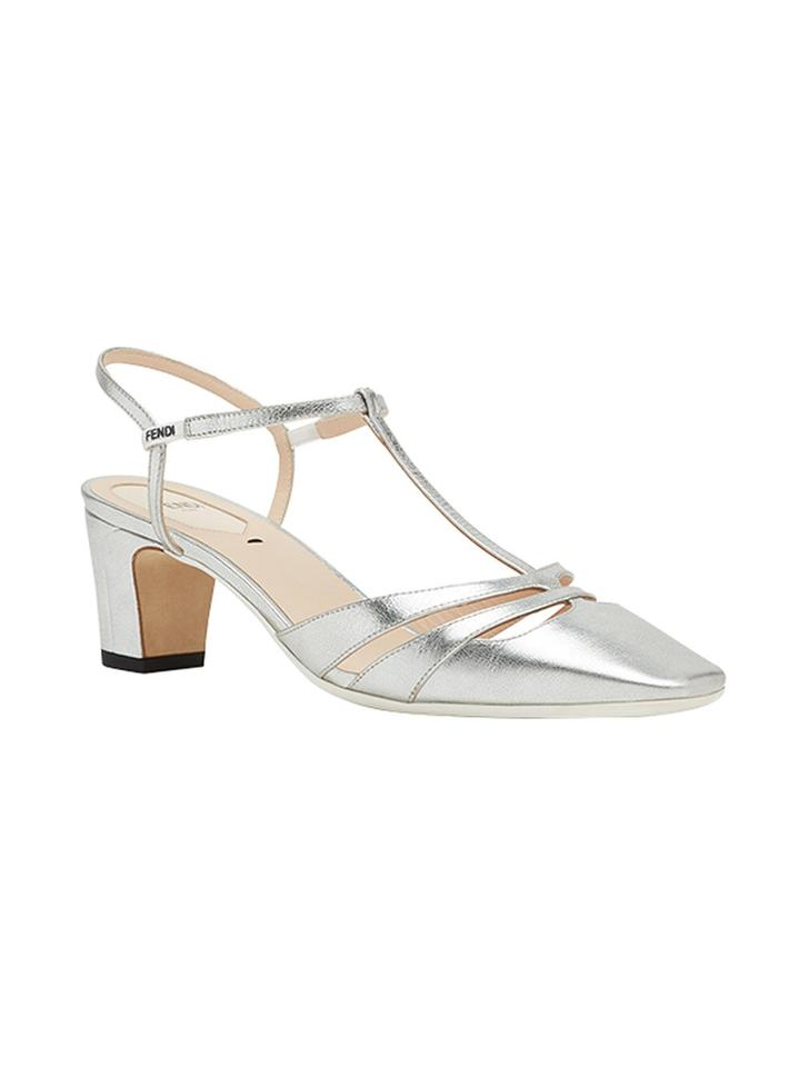 Fendi Silve New T-strap Metallic T-strap New T-bar Sandals 6 Platforms 085d3e