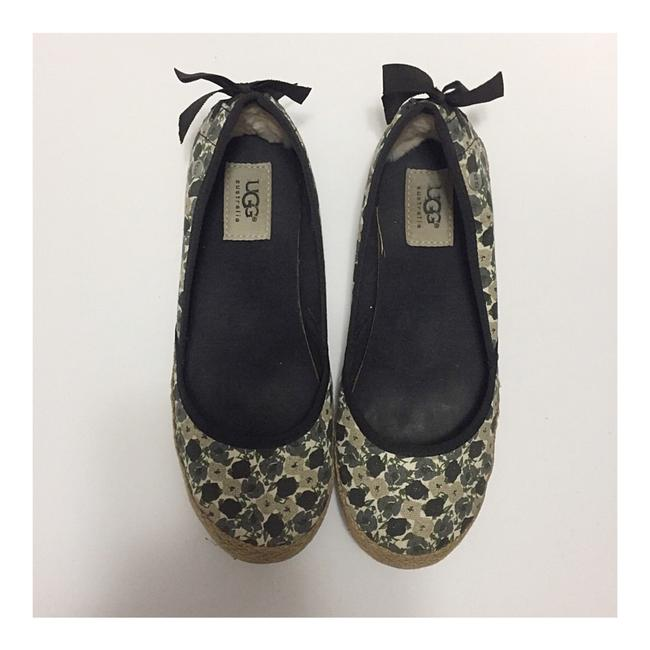 Item - Black Gray Taupe Indah Floral Flats Size US 7 Regular (M, B)