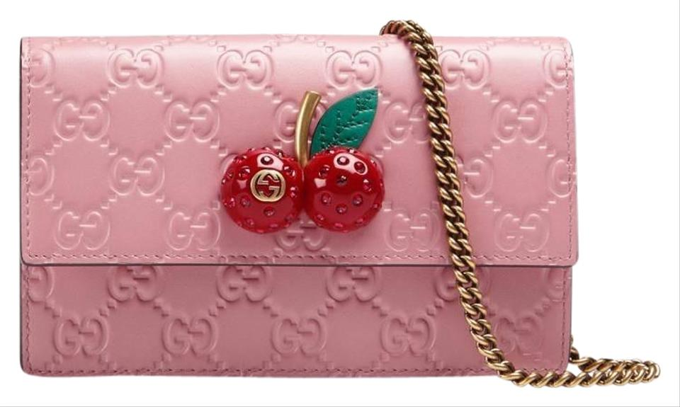 9475191b3 Gucci Japan Exclusive * Cherries Pink Leather Shoulder Bag - Tradesy