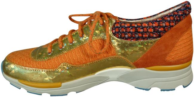 Item - Orange Gold Lace Up Fashion Trainers Tweed Metallic Leather New Sneakers Size EU 41 (Approx. US 11) Regular (M, B)