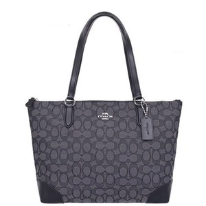 Coach Monogram Leather Zip Top Signature Fabric Tote in Black Gray