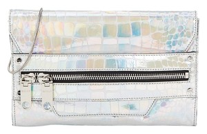 MILLY Croc Iridescent Chain Holographic Clutch