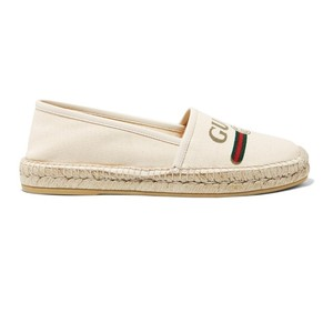e9191fc6337c Gucci Logo Printed Canvas Leather Trimmed Espadrilles Flats Size EU 36.5  (Approx. US 6.5) Regular (M, B)