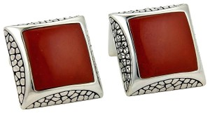 Stephen Webster Sterling Silver & Red Jasper Gem Square Cufflinks