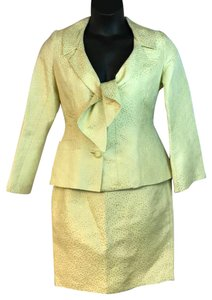Terry Terry Paris Made in France Silver/Yellow Skirt Suit US 10 F 42