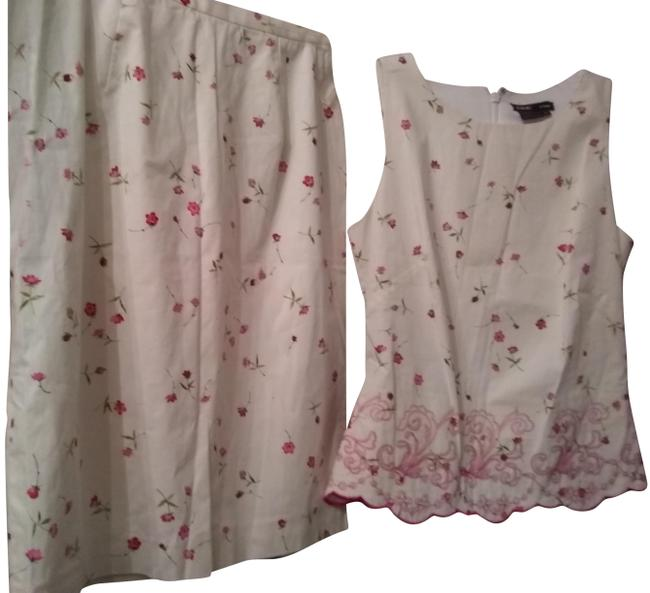 Item - White/Pink Floral Emboidery Mid-length Work/Office Dress Size 4 (S)