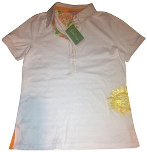 Lilly Pulitzer Polo Shirt Foral Button Down Shirt White