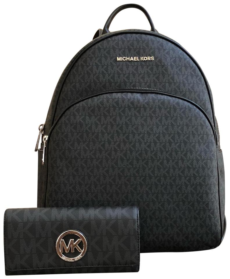 efd747bd80eb Michael Kors 2 Pcs Large Abbey Bundled W/ Large Flap Wallet Set Black  Pvc/Leather Backpack
