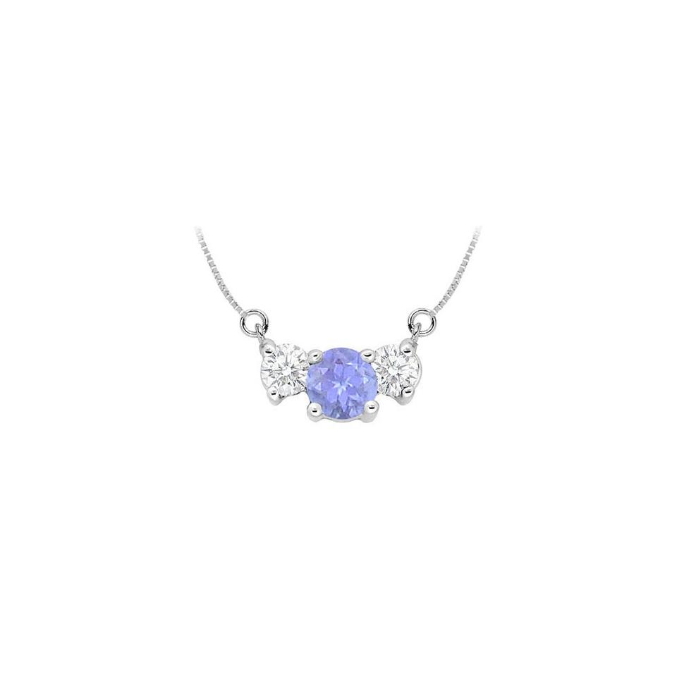 afb14996ac0923 Blue Created Tanzanite and Cubic Zirconia Pendant 925 Sterling Silver 1.50  Necklace