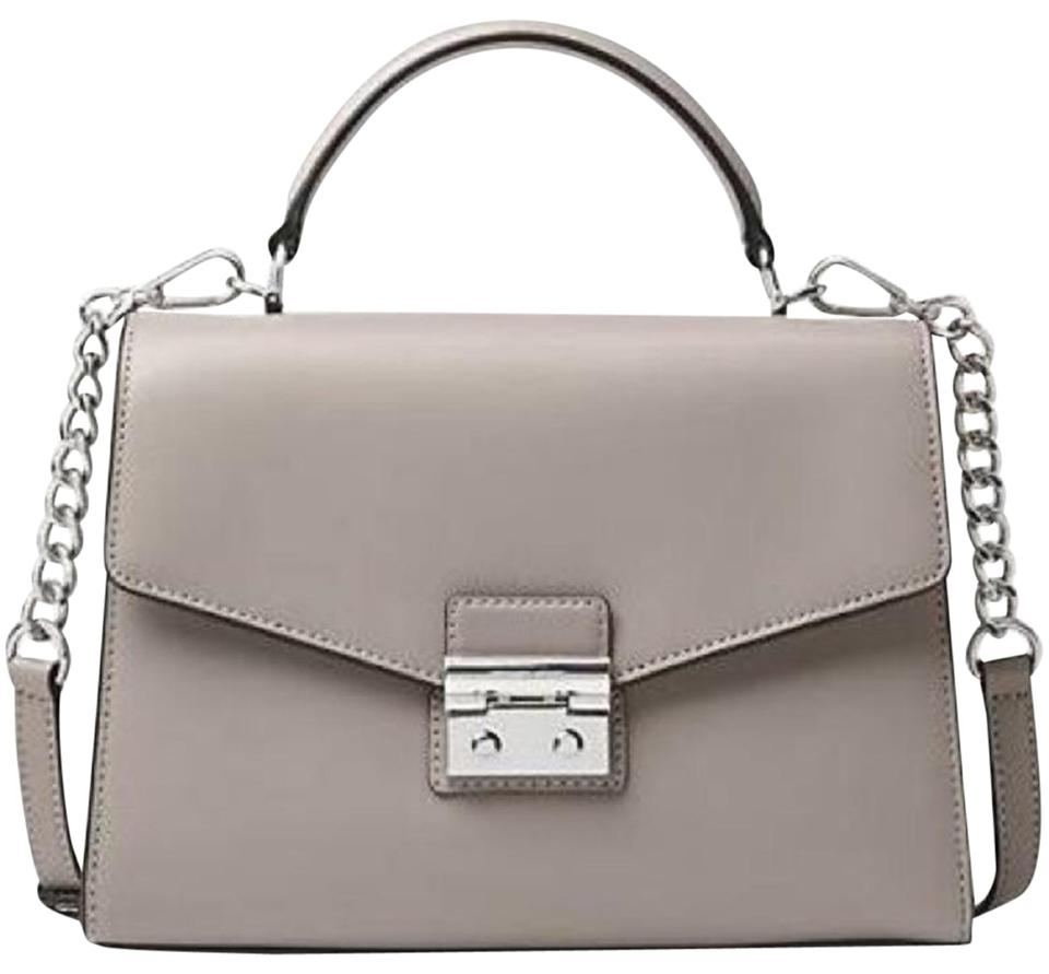 2db4c42e8af27 MICHAEL Michael Kors Sloan Medium Top Handle Pearl Grey Leather Satchel