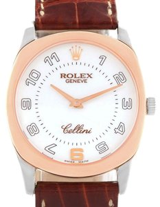 Rolex Rolex Cellini Danaos 18K White Rose Gold Brown Strap Mens Watch 4233