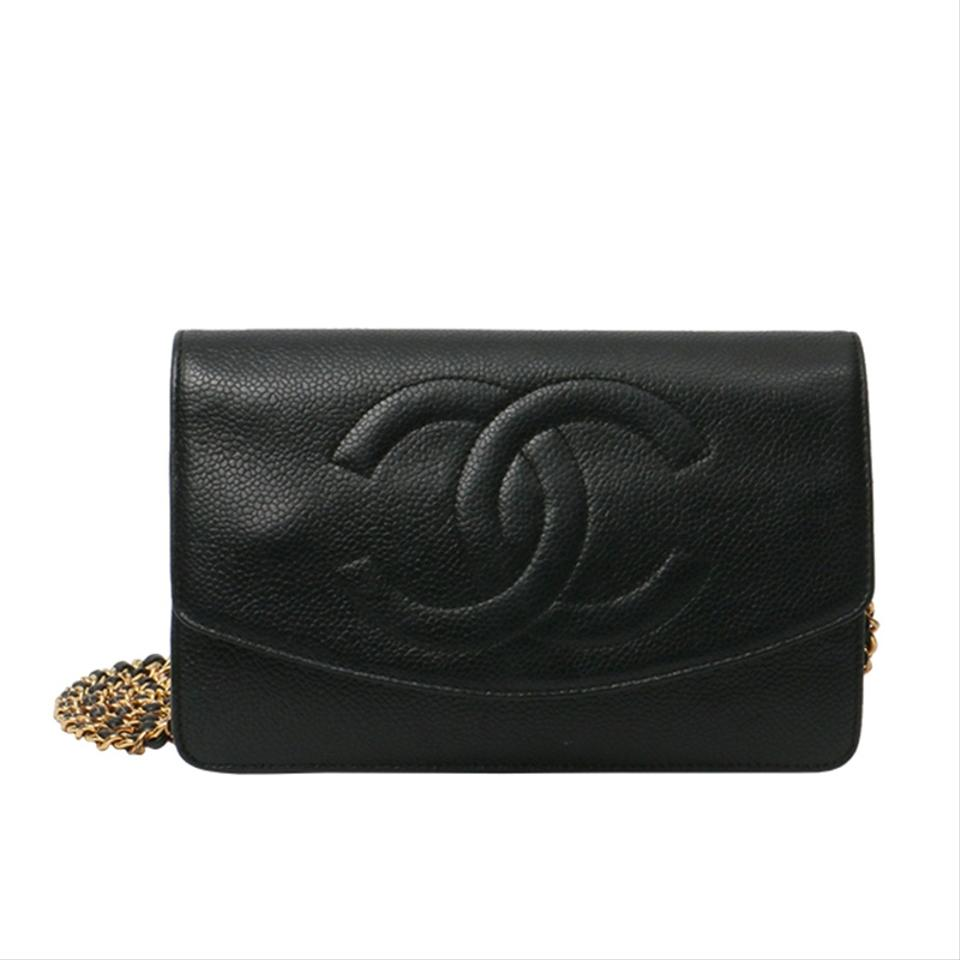 81e5d29d9fed Chanel Wallet on Chain Vintage Timeless Cc Woc Black Caviar Leather ...