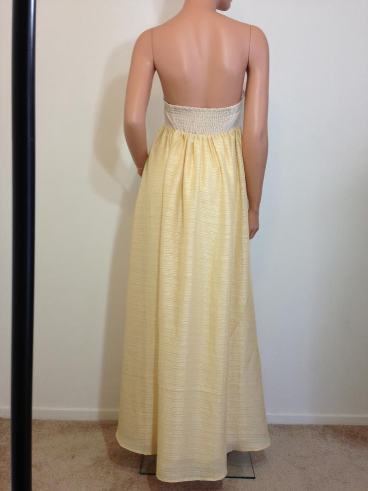 Cream Gold Strapless Maxi Ball Gown Wedding Prom Long Formal Dress ...