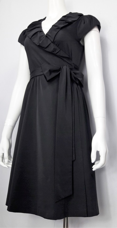 Ruffled Wrap Dress Neck Poplin Diane Tech Black Stretch 'bethania' von Furstenberg Cocktail qzq0P7