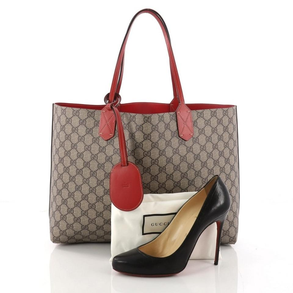 3ba408abbf217a Gucci Reversible Gg Print Medium Beige and Red Leather Tote - Tradesy