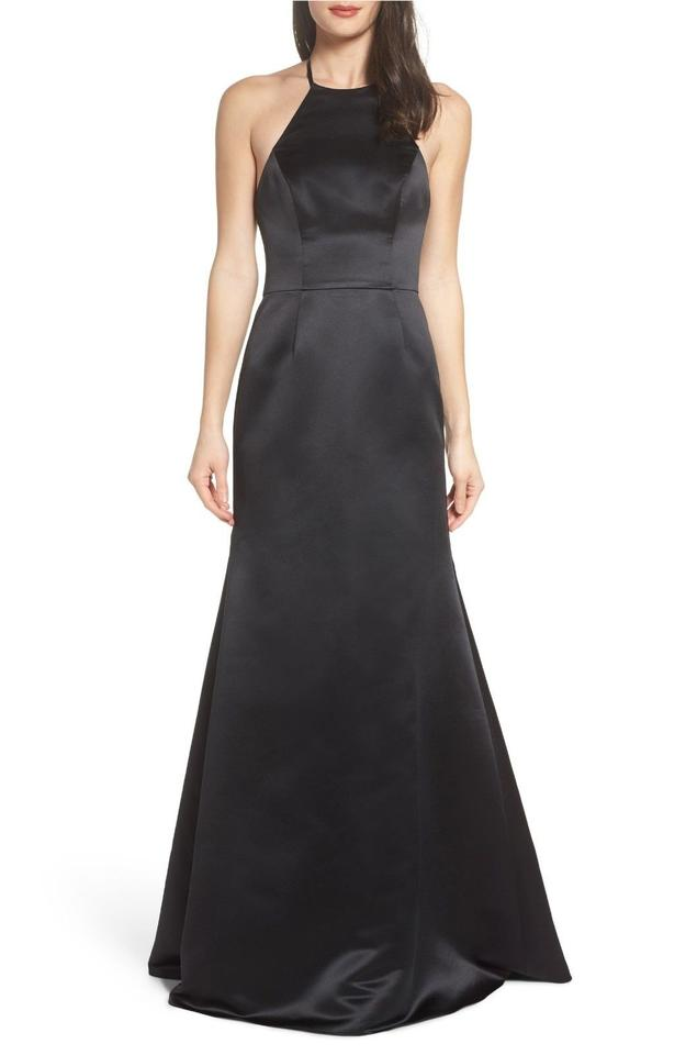 Hayley Paige Black Satin A-line Gown Long Formal Dress Size 6 (S ...