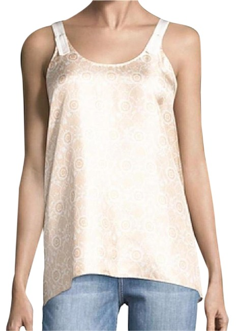 Item - Silk Print Asymmetrical Ivory Peach Top
