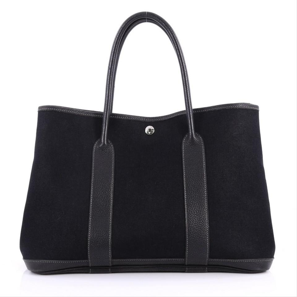 Toile and Black 36 Hermès Leather Tote Garden Party InSBwqw8U