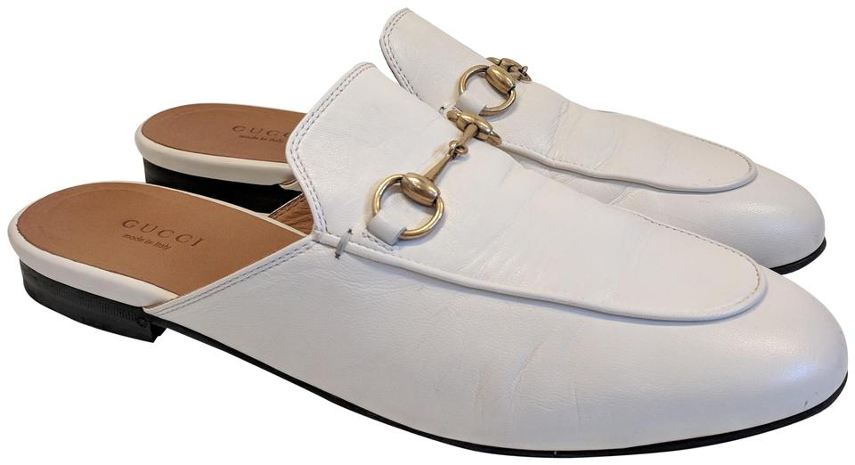 785c8339ef9 Gucci White Horsebit Princetown Leather Flat Slippers 38.5 Mules ...