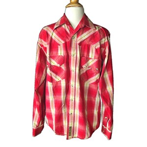 Larry Mahan Rodeo Shirt Cowboy Plaid Pearl Buttons Button Down Shirt red