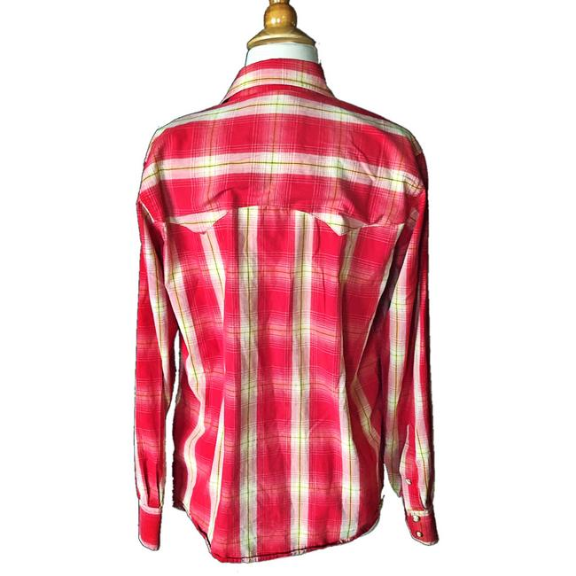 Larry Mahan Rodeo Shirt Cowboy Plaid Pearl Buttons Button Down Shirt red Image 1